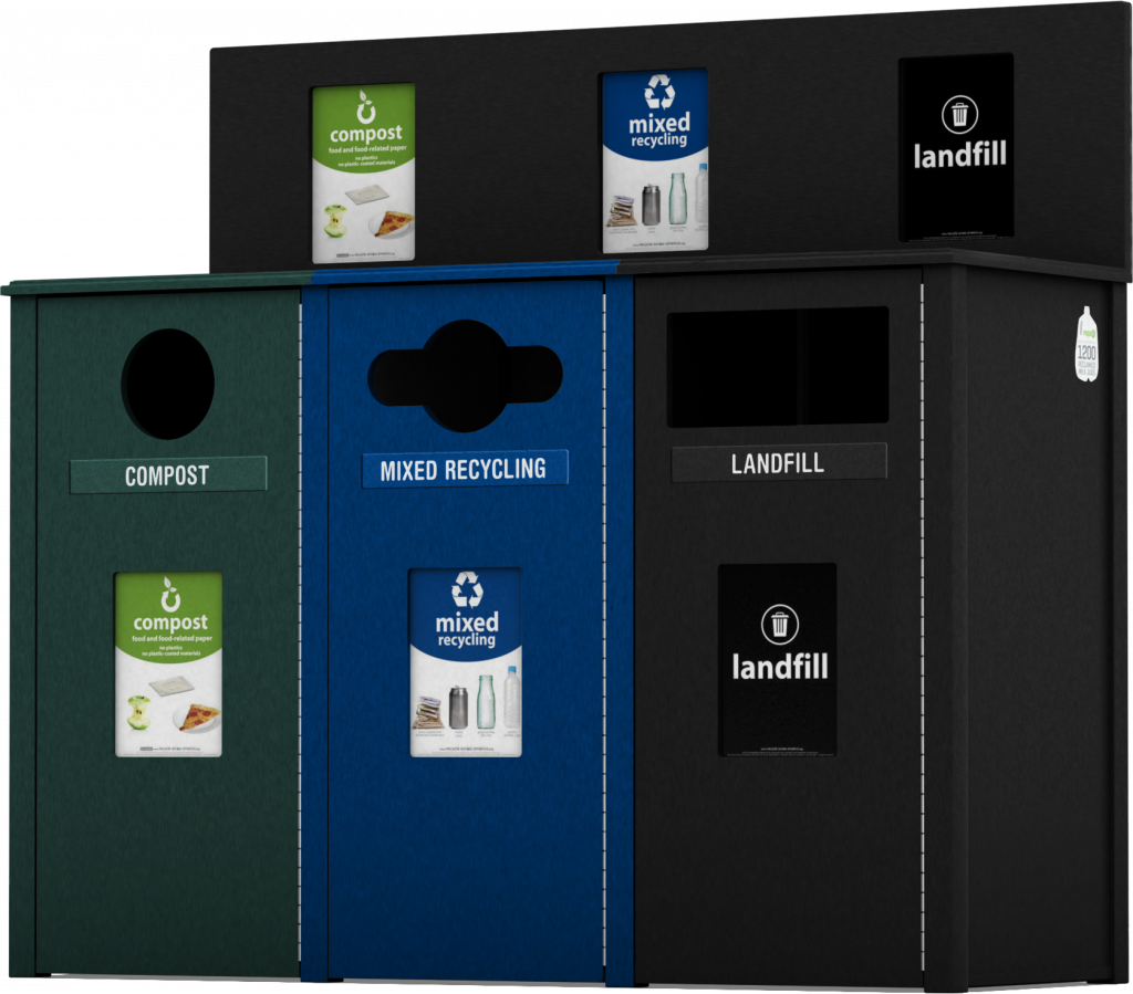 Oxford Collection Waste and Recycling Bin with Recycle Across America Labels