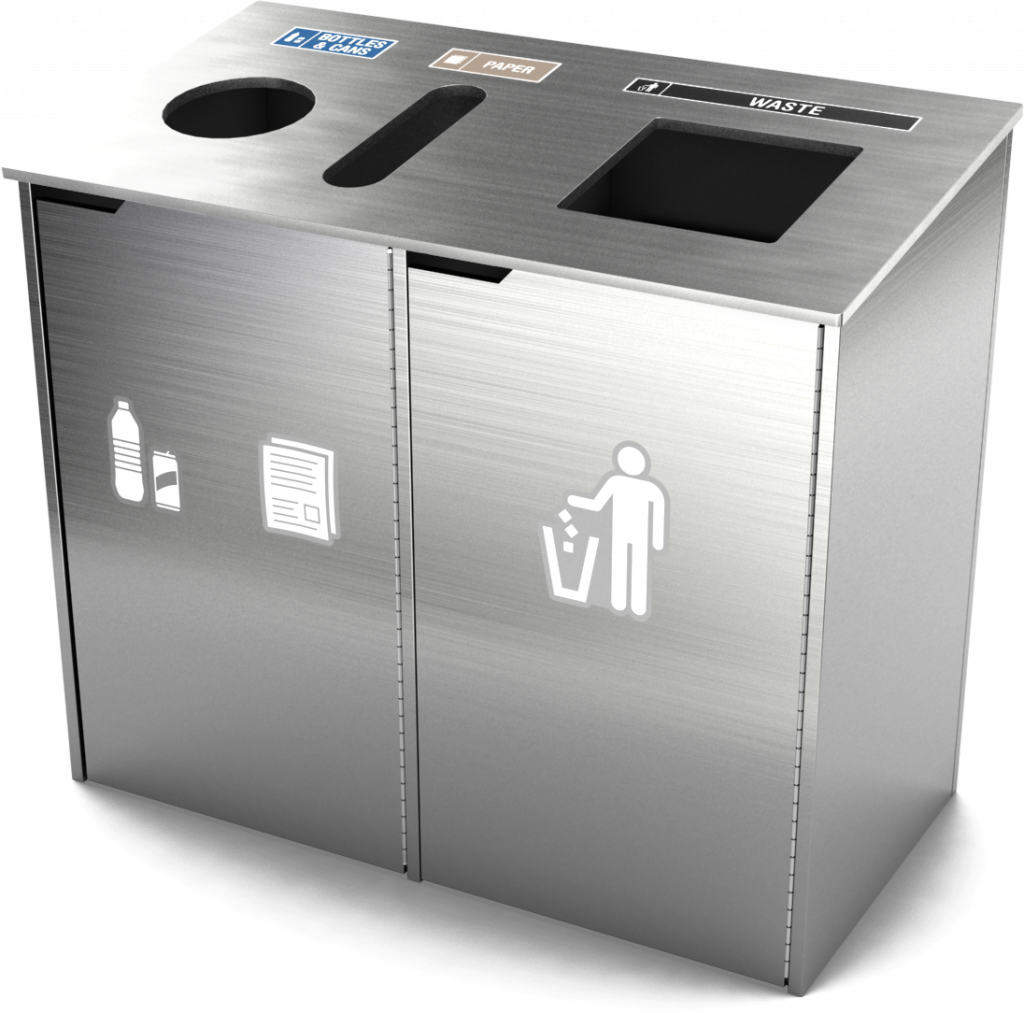 royal collection waste and recycling bin split stream | brushed aluminum finish