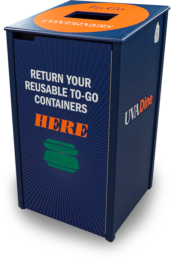 custom reusable to-go food container oxford collection bin | university of virginia